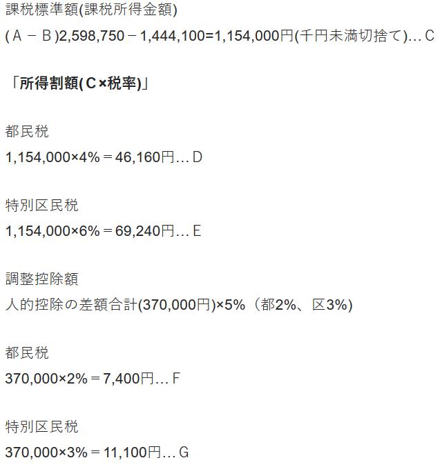 住民税の計算例