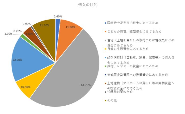 借り入れの目的円グラフ