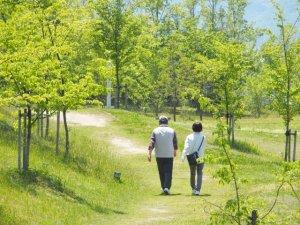 散歩をする夫婦