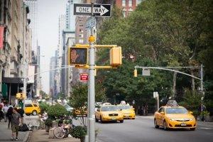 信号とタクシー