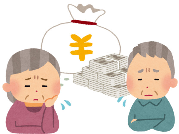 お金に困る老夫婦のイラスト